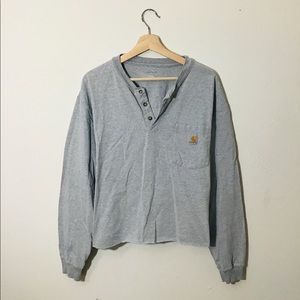 Slouchy Cropped Long Sleeved Carhartt Henley Top